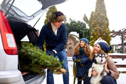 Father brought christmas tree in large trunk of SUV car. Daughter, mother and dog meet dad happily help him with holidays home decorations. Family prepares for new year together. Snowy winter outdoors