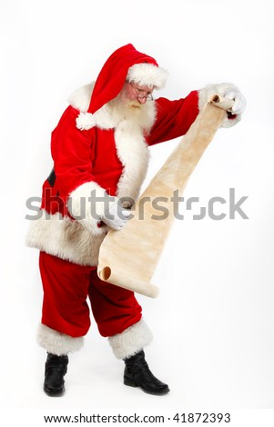 father christmas checking his list studio shot on plain background