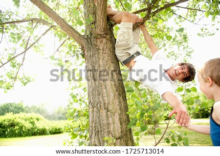 Father climbing tree and reaching for son's hand