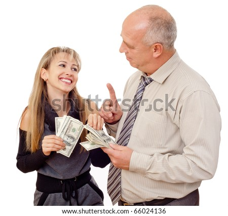Father Giving Elated Daughter Spending Money