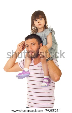 Father giving piggyback to his toddler daughter isolated on white background