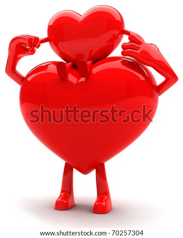 Father heart shaped mascot holding baby heart mascot