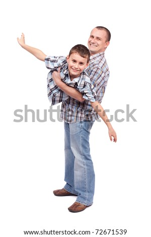 Father holding his son, isolated on white background