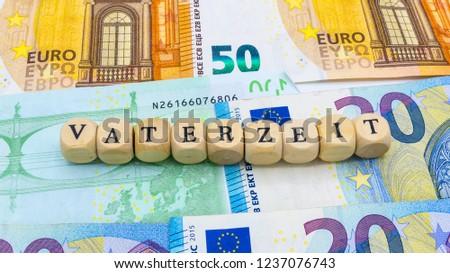 "Father Parental Leave  german ""Vaterzeit"" #1237076743"