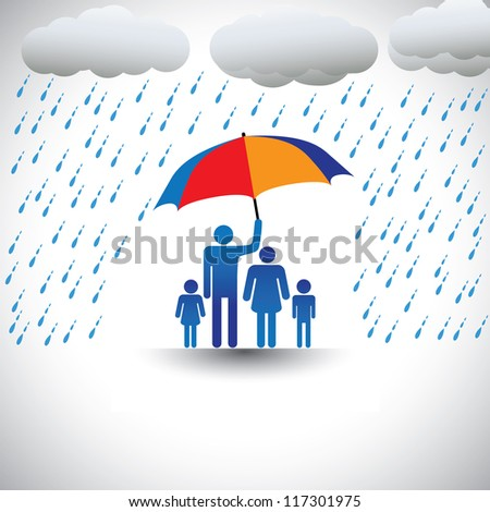 Father protecting family from heavy rain with umbrella. The graphic represents father holding a colorful umbrella which shields his family(wife & children). Also a concept of caring, love, bonding,etc
