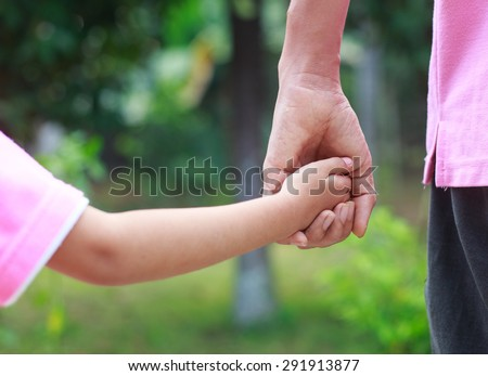 Father\'s day -- father hold child hand with love and walk together