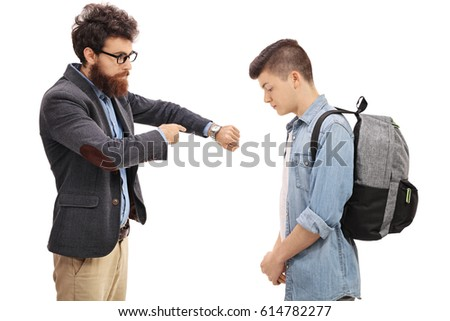 Father scolding his son for being late isolated on white background #614782277