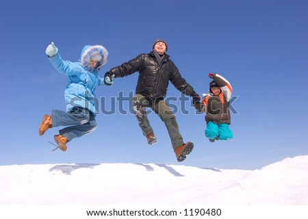 Father son and daughter jumping