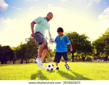 Father Son Playing Soccer Park Summer Concept
