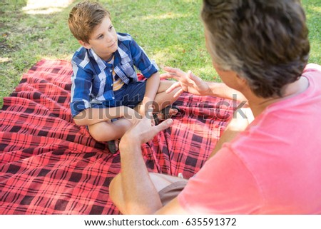 Father talking to son at picnic in park on a sunny day #635591372