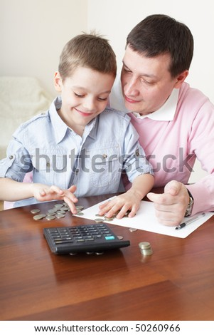 Father training the son to the finance. Series