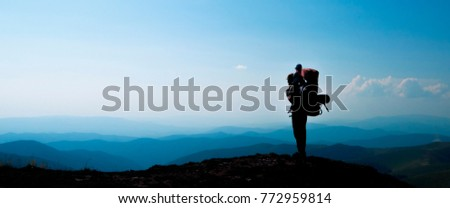 Father with baby son in mountainous  areas. Travel adventure and hiking activity with child, active and healthy lifestyle banner. #772959814