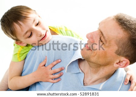 father with his son on a white background #52891831