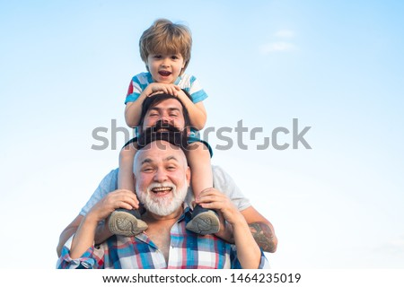 Fathers day. Father and son with grandfather - Men generation Stock photo ©