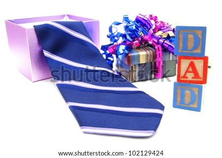 Fathers Day gift boxes and tie with DAD toys blocks