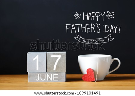 Fathers Day message with coffee cup with wooden blocks #1099101491