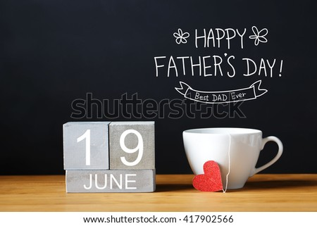 Fathers Day message with coffee cup with wooden blocks