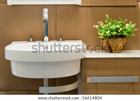 Faucet and flower in a new bathroom