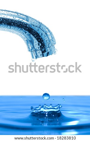 faucet and water drop isolated