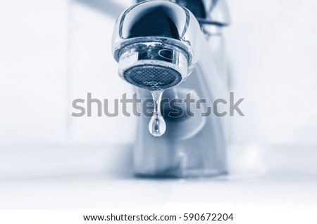Faucet and water drop on white background #590672204