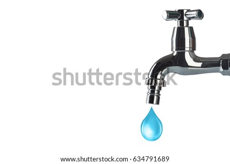 Faucet and water drop on white background #634791689