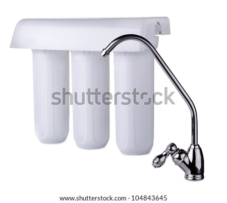 Faucet and water filter isolated on white