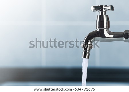 faucet and water flow on bathroom #634791695