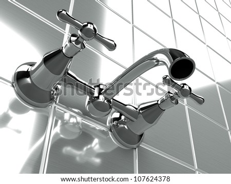 faucet vintage resting on the tiled wall