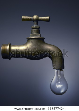 faucet with a light bulb, ecology concept for water and energy.