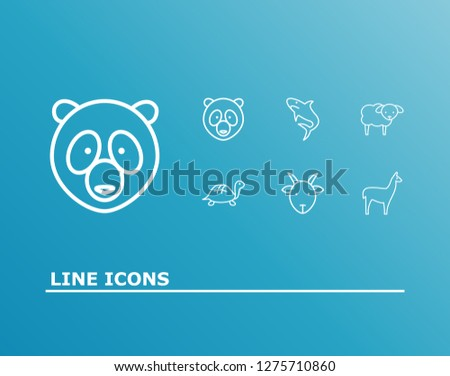 Fauna icon set and turtle with goat, sheep, panda. Tortoise related fauna icon  for web UI logo design.