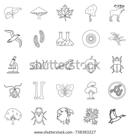 Fauna icons set. Outline set of 25 fauna  icons for web isolated on white background