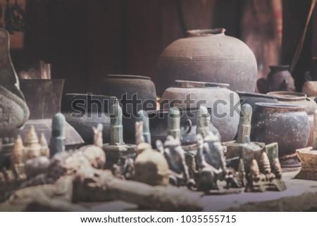 faux khmer artifacts sold in souvenir shops in Phnom Kulen, Cambodia