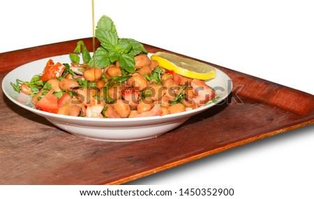 Fava Beans salad with tomatoes, parsley, lemon, and mint