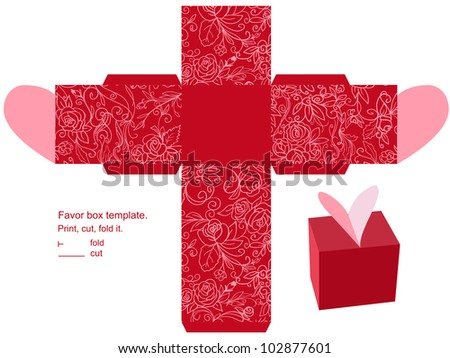 Favor box die cut. Floral pattern. Empty label. - stock photo