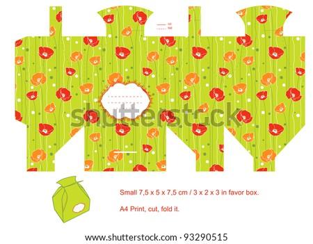 Favor box die cut. Floral pattern. Empty label.