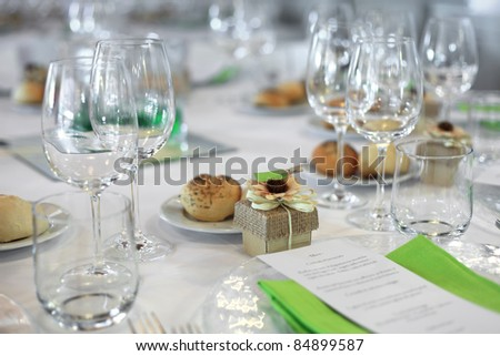 favor on Fancy table set for a wedding