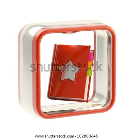 Favorite and address book glossy icon as application emblem isolated on white