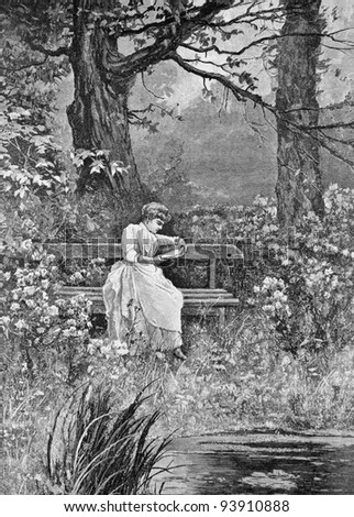 "Favorite place. Engraving by Olszewski from picture by painter Pisemsky. Published in magazine ""Niva"", publishing house A.F. Marx, St. Petersburg, Russia, 1893"