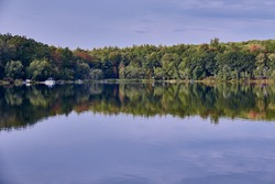 Fawn Lake in Hawley, Pennsylvania, a one hundred and fifty acre fresh water reservoir that is available for silent boating, fishing and swimming