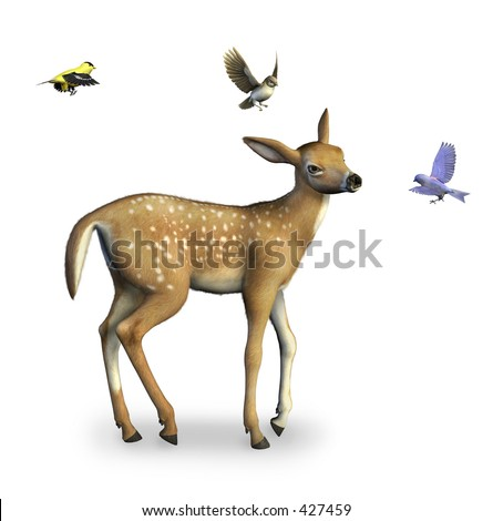 Fawn with Birds - 3D render