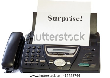Fax machine and sheet with inscription