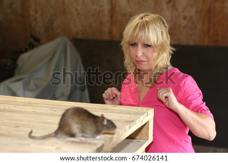 fear and phobia woman and rat