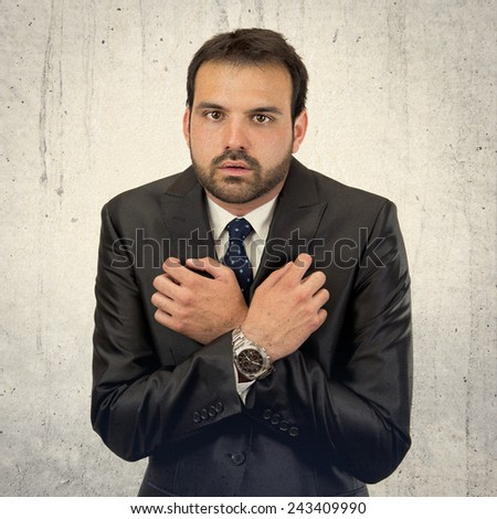 fear business man isolated over white background