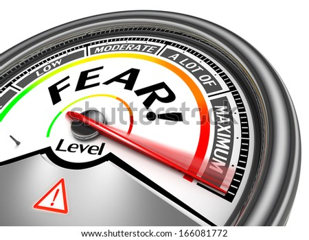 fear conceptual meter indicate maximum, isolated on white background