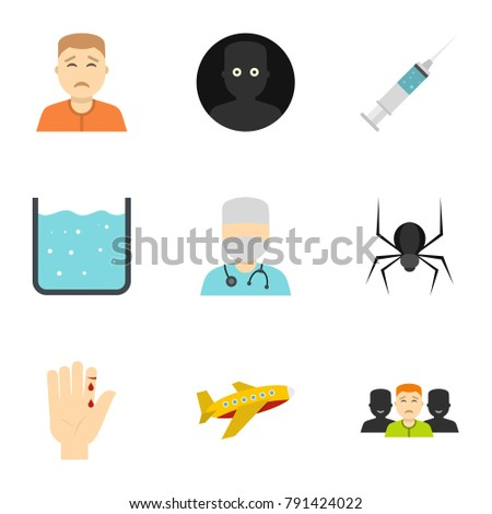 Fear icon set. Flat style set of 9 fear  icons for web isolated on white background