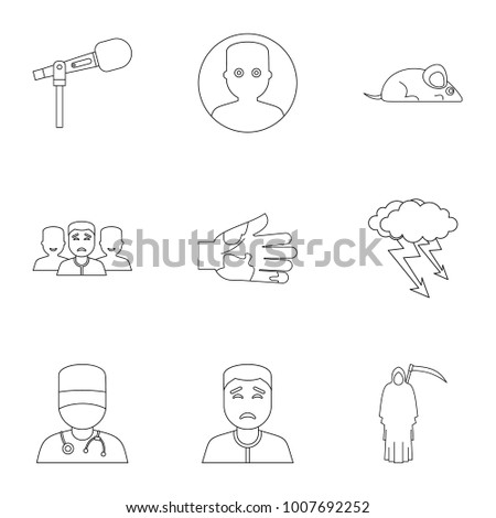 Fear icon set. Outline style set of 9 fear  icons for web isolated on white background