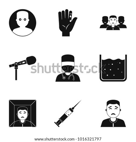 Fear icon set. Simple style set of 9 fear  icons for web isolated on white background