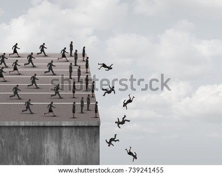 Fear of failure and limited opportunity or business career or job obstacles as a businesswoman and businessman running and stopping at a cliff with people falling in a 3D illustration style.