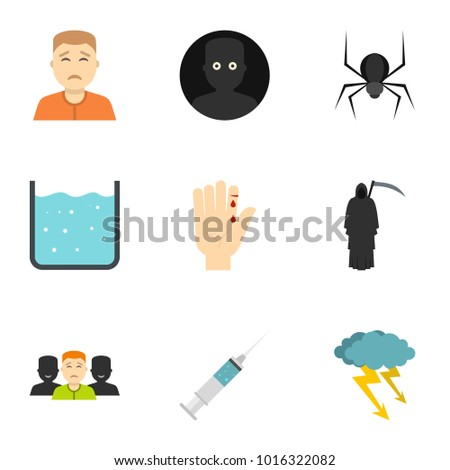Fears and phobias icon set. Flat style set of 9 fears and phobias  icons for web isolated on white background