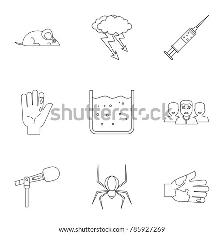 Fears and phobias icon set. Outline style set of 9 fears and phobias  icons for web isolated on white background